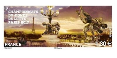 timbre la poste championnats du monde de lutte